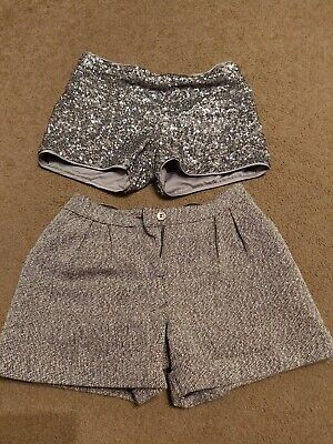 2 Pairs Of Lovely Girls Marks and Spencer Sparkly Shorts 9-10 Years