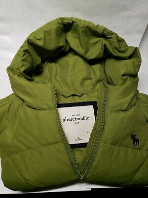 ABERCROMBIE Kids Full Zip Up Hooded Green Quilted Jacket Boy's Size XL