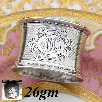 """Antique French Sterling Silver 2"""" Napkin Ring, Guilloche Decoration, MH Monogram"""