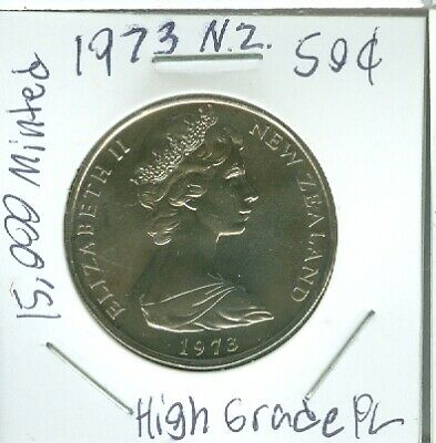 1973 New Zealand 20 Cent Queen Elizabeth Ii. Pl