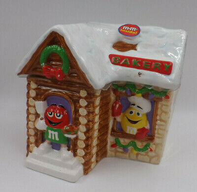 M&M's Ceramic Christmas Bakery House Cookie Jar By Galerie - Unopened 2003