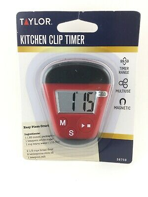 Taylor Digital Magnetic Clip Timer for Kitchen Red Black Battery FREE SHIPPING