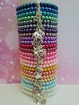 Wholesale Jewellery Joblot 24 Beaded Charm Bracelets,Gifts,Party Bags,Favours,7""