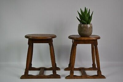 Pair of 19th Century Victorian oak jointed English stools