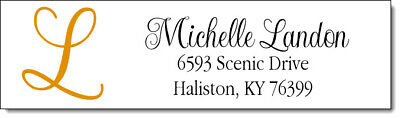 400 Monogrammed - Personalized Return Address Labels  1/2 x 1.75 Inch Design #9