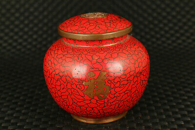 Red chinese royal cloisonne hand painting tea caddy box pot