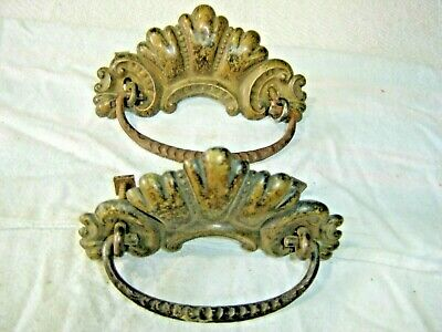 Antique Salvage ~ Pair Stamped Brass Drawer Pulls with cast iron bales  ~1140