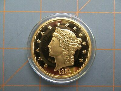 American Mint 1854S $20 Gold Plated Copy Token 38mm