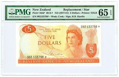 (1977-81) NEW ZEALAND 5 DOLLAR REPLACEMENT NOTE P# 165d* PMG 65 EPQ
