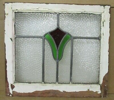 "OLD ENGLISH LEADED STAINED GLASS WINDOW Simple Tulip Design 19.5"" x 17.5"""