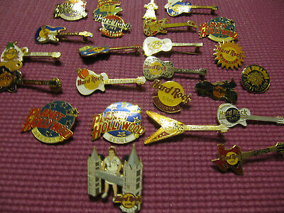 Hard Rock pins, 24 total with some being Planet Hollywood