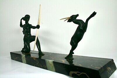 "Art Deco Statue Bronze DIANA mit GAZELLE sign. ""H.GUAL"""