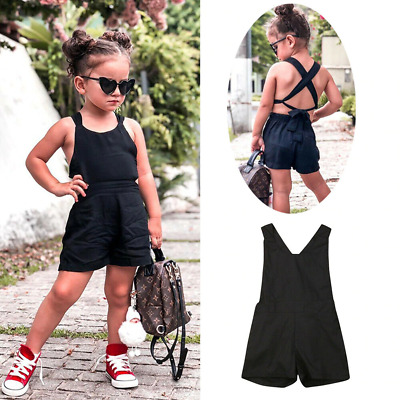 Kids Summer Pants Girls Cotton Sleeveless Plain Color Backless Fashion Rompers