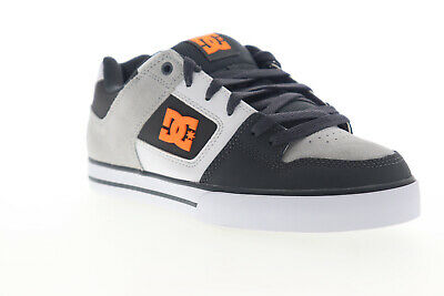 DC Pure 300660 Mens Gray White Suede Leather Lace Up Athletic Skate Shoes