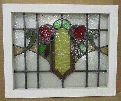 "MIDSIZE OLD ENGLISH LEADED STAINED GLASS WINDOW Colorful Floral 23.75"" x 19.5"""