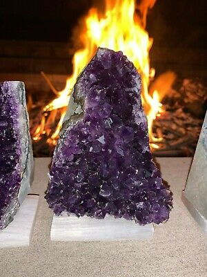 FIRE & SELENITE CHARGED Amethyst Druze Crystal with Cut Base - Specimen ~ 2 Lbs