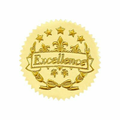 96 Excellence Star Stickers Gold Certificate Seals for Award Certificates 1.7""