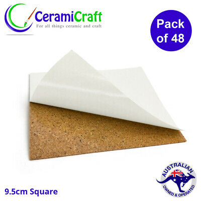 12 x 9.5cm Adhesive Square Cork Backing Sheets for DIY Crafts Coasters and Tiles