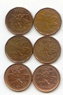 Canada 1992 1993 1994 1995 1998 + 1999 One Cent Canadian Pennies Penny 1c SET
