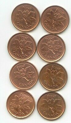 Canada 2000 2001 2002 2003 ] x2 SETS One Cent Canadian 8 Pennies Penny 1c
