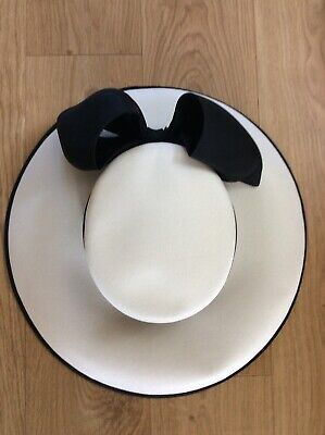 Della Wedding, Special Occasion Hat In White With Black Bow