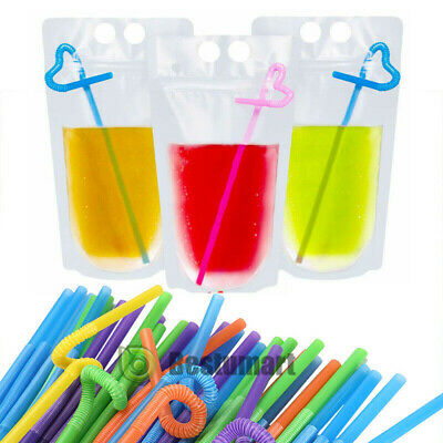 100 PCS Drink Pouches Bags with Straws Clear Translucent Stand-Up Zipper Plastic
