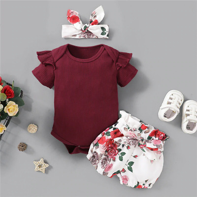 Kids Summer Pants Girls Set Plain Color Raffle Romper Top Headband Floral Shorts
