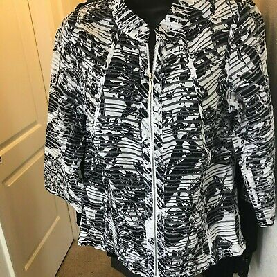 Womens Coldwater Creek Sheer Lightweight Full Zip White Navy Floral Top 4-6 S