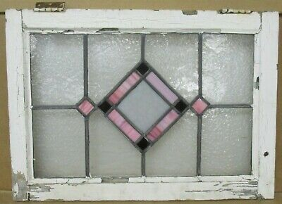 """OLD ENGLISH LEADED STAINED GLASS WINDOW Stunning Pink Diamond 22.5"""" x 16"""""""