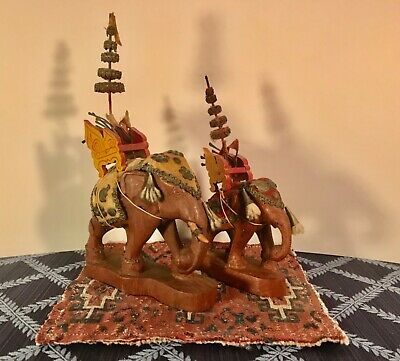 TWO Vintage Carved Wooden Thai Elephants in Royal Temple Garb RARE