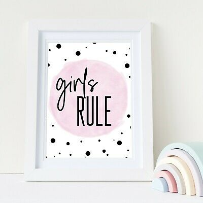 Kids Children's Bedroom Prints Wall Art Quotes Decor Modern Scandi Girls Rule A4