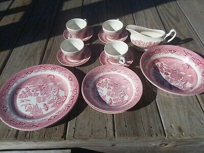14 pc Churchill Willow Rosa Pink Red Made in Romania