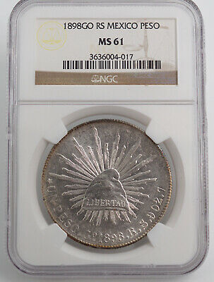 MEXICO 1898 Go RS SILVER PESO NGC MS61