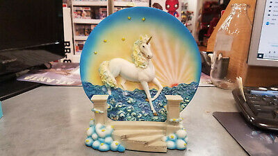Vintage 3D Medieval Legend Collection Unicorn Plate - Sunset - Stars - W/ Base