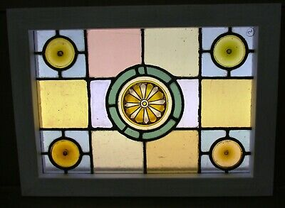 "VICTORIAN ENGLISH LEADED STAINED GLASS WINDOW Hand Painted 18.75"" x 13.75"""