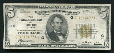 Fr. 1850-A 1929 $5 Frbn Federal Reserve Bank Note Chicago, Il (F)