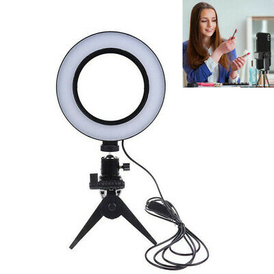 """6"""" LED Ring Light with Tripod Stand Phone Holder for Live Dimmable Desk Makeup"""