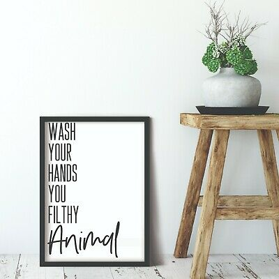 Bathroom Prints Wall Art Funny Poster Pictures Toilet Home Quotes A4 Wash Hands