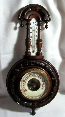 Antique Victorian Hand Carved Wood Wall Barometer w/ Milk Glass Thermometer 15""