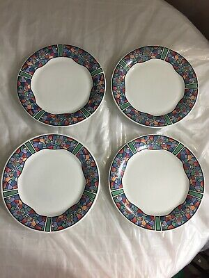 Coca-Cola Plates Rainbow Mosaic Stained Glass Pattern Gibson 1996 Set of 4 Vtg