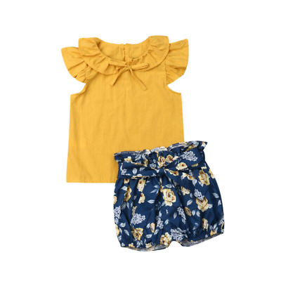 Kids Summer Pants Girls Set Plain Color Ruffled Collar Sleeves Top Floral Shorts