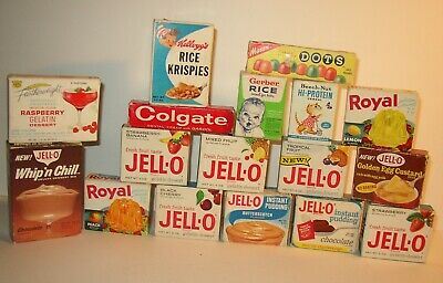 Lot of Vintage Boxes Jello Dots Colgate Kelloggs Beech-Nut Gerber Featherweight