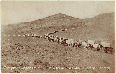 1923 The Great Covered Wagon Train Criterion Theatre Western Film Movie Postcard
