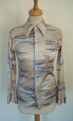 Vintage 70s JC Penney boys' unisex silky abstract dagger collar fitted shirt XS
