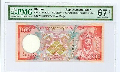 (2000) Bhutan 500 Ngultrum Replacement Note P# 26* Pmg 67 Epq-Tied For Finest!!
