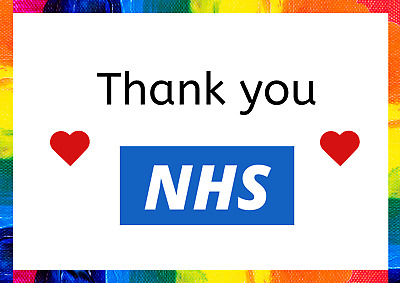 Rainbow Thank You NHS Window poster print 10% Donated to NHS charites A2 A3 A4