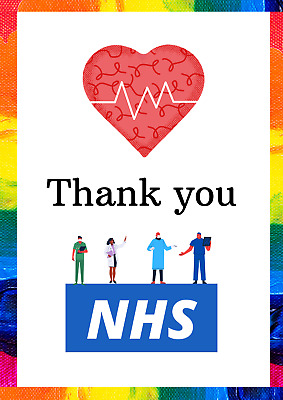 Thank You NHS Rainbow poster print 10% Donated to NHS charites A2 A3 A4