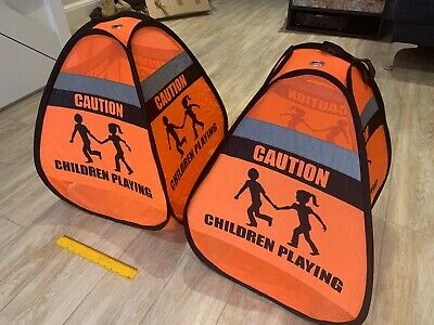2 x Novus 'Children Playing' Weighted Pop-Up Safety Cone Signs, Reflective
