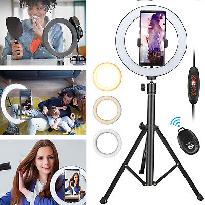 "8"" LED Ring Light Adjustable Tripod Stand Phone Holder For Makeup Photography"