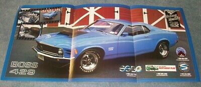 1970 Ford Mustang BOSS 429 blue 24x36 inch posterReady to ship now